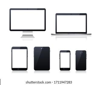 Satz technologischer Geräte mit unscharfem Bildschirm auf weißem Hintergrund . Elemente der isolierten Vektorillustration