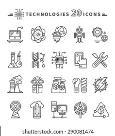 Set of technologies black thin, lines, outline icons for energy, robotics, communications, environment, aerospace, mechanical engineering on white background. For web construction, mobile applications