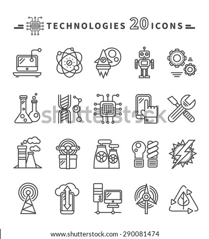 Set Technologies Black Thin Lines Outline Stock Vector Royalty Free