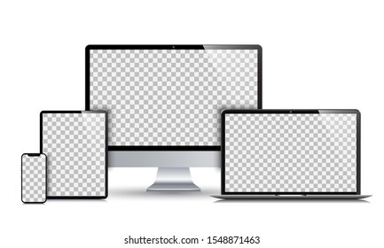Set technology devices with empty display - stock vector
