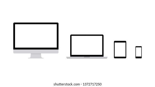 set of technology gadgets monitor realistic black computer, laptop, phone and tablet display  Isolated on white background. Vector Illustration.