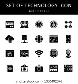 set of technology icon design with creative modern concept and black and white outline style logo shape for pictogram, website, web button design vector eps 10 - Vector