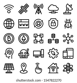 set of technology icons with simple outline style, vector eps 10