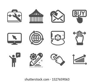 Set of Technology icons, such as Agent, Chart, Globe, Rotation gesture, Receive mail, Tool case, Multitasking gesture, Project edit, Carousels, Augmented reality, Internet, Buying. Agent icon. Vector