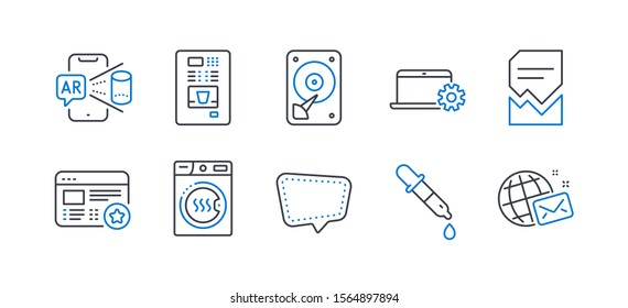 Set of Technology icons, such as Chat message, Hdd, Corrupted file, Dryer machine, Chemistry pipette, Notebook service, Augmented reality, Coffee vending, Favorite, World mail line icons. Vector