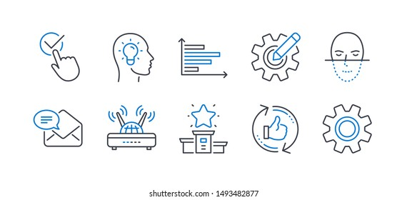 Set of Technology icons, such as Cogwheel, Wifi, Winner podium, New mail, Refresh like, Face recognition, Horizontal chart, Idea head, Checkbox, Service line icons. Line cogwheel icon. Vector