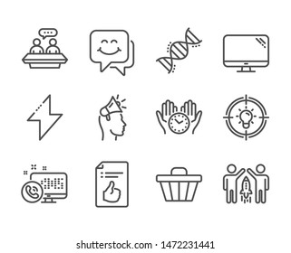 Set of Technology icons, such as Computer, Energy, Chemistry dna, Shop cart, Smile face, Web call, Idea, Brand ambassador, Partnership, Employees talk, Approved document, Safe time. Vector