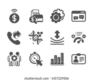 Set of Technology icons, such as Contactless payment, Chemistry dna, Employees teamwork, Id card, Timer, Share call, Resilience, Correct answer, Graph chart, Browser window, Settings gears. Vector