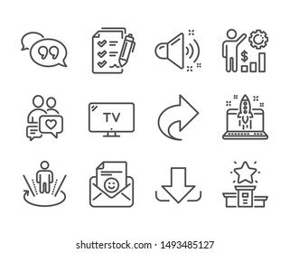 Set of Technology icons, such as Download, Quote bubble, Augmented reality, Tv, Loud sound, Survey checklist, Share, Employees wealth, Smile, Winner podium, Start business, Dating chat. Vector