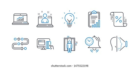 Set of Technology icons, such as Energy, Elevator, Best manager, Time management, Online payment, Online statistics, Checklist, Loan percent, Methodology, Face id line icons. Lightbulb, Lift. Vector
