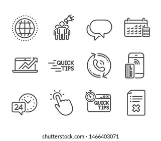 Set of Technology icons, such as Globe, Reject file, Education, Talk bubble, Touchpoint, Sales diagram, Quick tips, 24h service, Calendar, Brand ambassador, Call center line icons. Globe icon. Vector