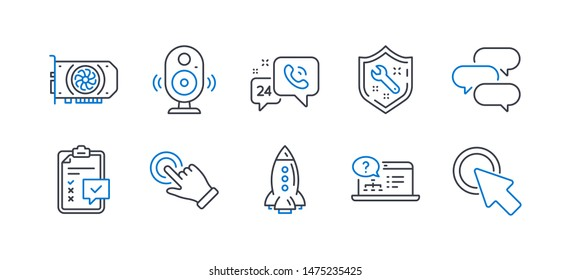 Set of Technology icons, such as Gpu, 24h service, Spanner, Speaker, Rocket, Checklist, Online help, Touchscreen gesture, Talk bubble, Click here line icons. Graphic card, Call support. Vector