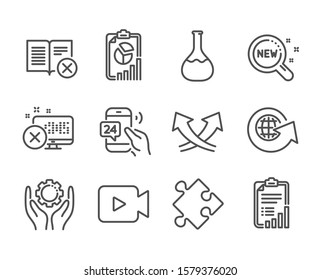 Set of Technology icons, such as Intersection arrows, Strategy, Report, Checklist, Video camera, 24h service, Reject book, Employee hand, World globe, Reject access, New products. Vector