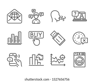 Set of Technology icons, such as Laundry, Conversation messages, Buying, Seo analysis, Breathing exercise, Call center, Decreasing graph, Usb flash, Faq, Web mail, Time, Graph chart. Vector