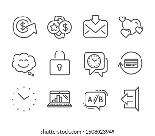 Set of Technology icons, such as Loyalty points, Sign out, Dollar exchange, Smile chat, Graph laptop, Lock, Clock, Heart, Incoming mail, Time, Ab testing, Refund commission line icons. Vector