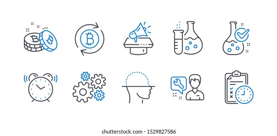 Set of Technology icons, such as Megaphone, Repairman, Alarm clock, Refresh bitcoin, Cogwheel, Face scanning, Bitcoin, Chemistry flask, Chemistry lab, Exam time line icons. Line megaphone icon. Vector