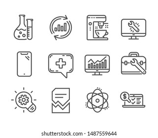 Set of Technology icons, such as Monitor repair, Statistics, Tool case, Chemistry lab, Update data, Corrupted file, Smartphone, Medical chat, Cogwheel, Atom, Coffee maker line icons. Vector