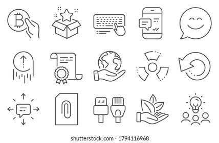 Set of Technology icons, such as Organic product, Computer keyboard. Diploma, ideas, save planet. Computer cables, Sms, Smartphone notification. Chemical hazard, Loyalty program, Bitcoin pay. Vector