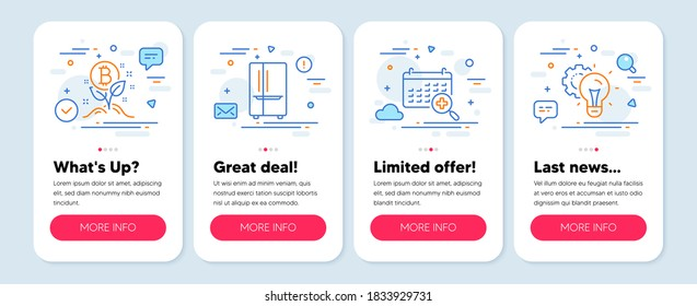 Set of Technology icons, such as Refrigerator, Medical calendar, Bitcoin project symbols. Mobile screen app banners. Idea gear line icons. Vector