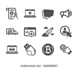Set of Technology icons, such as Startup rocket, Touchscreen gesture, Bitcoin, User, Megaphone, Divider document, Flash memory, Speech bubble, Online delivery, Seo targeting classic icons. Vector