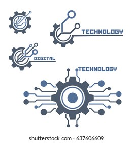 Set of technology logo. Circuit. Tech logo template.