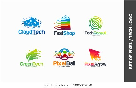 set of technology pixel logo designs template, Cloud Tech logo, Fast Shop, Tech discuss, Green Technology, Pixel Ball, Pixel Arrow logo vector