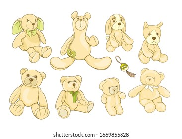 Set of Teddy bears, hare and dogs stuffed hand maade toys. Colored vector illustration. Isolated on white background.