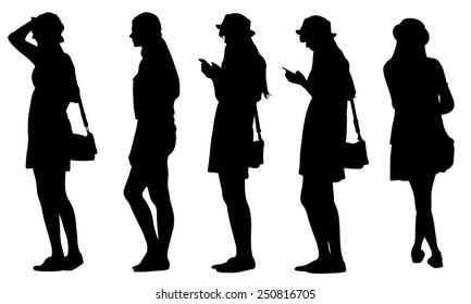 set of teenage girl silhouettes