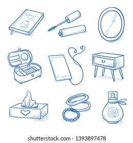 Set of teenage girl's room objects: mascara, mirror, scrunchies, perfume, mobile phone with headphones, tissue box, novel, drawer. Hand drawn blue line art cartoon vector illustration.