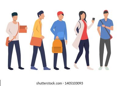 Set of teenage students with satchels. College students with bags and smartphone. Vector illustration for educational project, presentation, promo