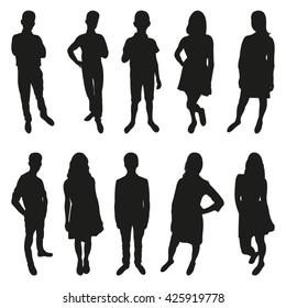 Set of Teenagers Vector Silhouettes