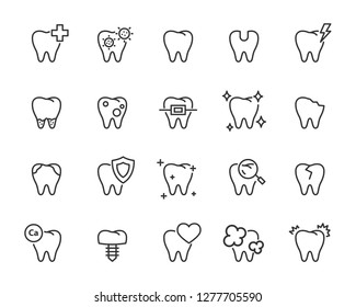 set of teeth icons, such as, dental, toothache, oral, clean