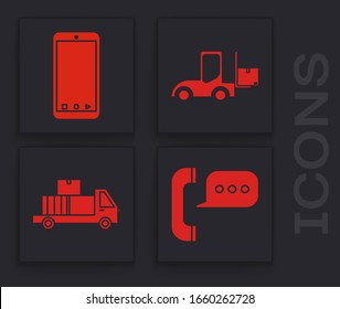 Set Telephone with speech bubble chat , Mobile phone with app delivery tracking, Forklift truck  and Delivery truck with cardboard boxes icon. Vector