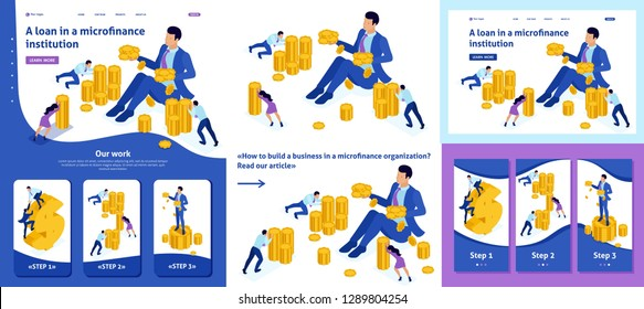 Set Template article, Landing page, app design, Isometric concept microfinance organization, big businessman holding a lot of money.