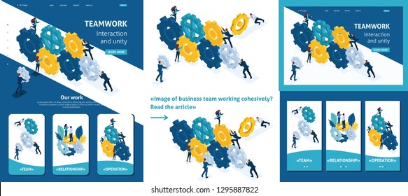Set Template article, Landing page, app design, Isometric Conceptual image of business team working cohesively. Interaction and unity.