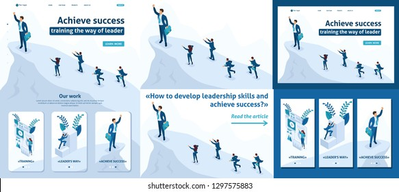Set Template article, Landing page, app design, Isometric Big businessman at the top symbolizes leadership and success, people follow him