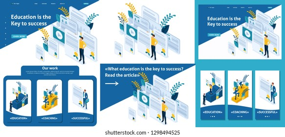Set Template article, Landing page, app design, Isometric education and coaching is the key to success. Diplomas and knowledge