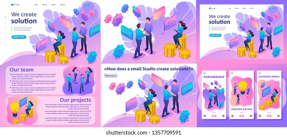 Set Template article, Landing page, app design, Isometric Bright concept teamwork to create a solution.