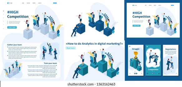 Set Template article, Landing page, app design, Isometric businessmen on a pedestal of superiority, successful leader.