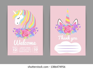 set template for baby shower or birthday invitation with unicorn and spring flowers