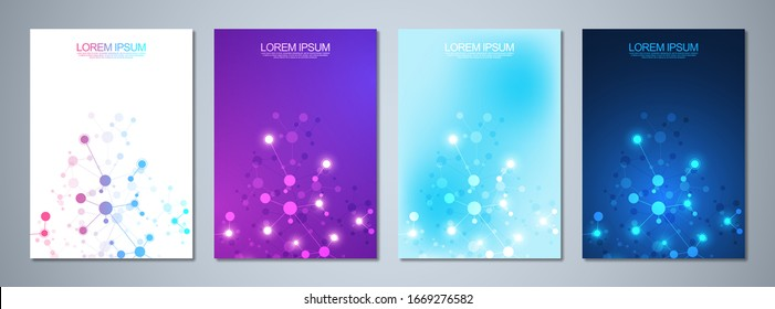 Set of template brochure or cover book, page layout, flyer design with abstract background of molecular structures and DNA strand. Concept and idea for innovation technology, medical research, science