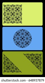 set of template for business card, with cut out geometrical pattern vector illustration.