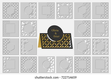 Set template cards to cut. Topper. Use for congratulations, invitations, presentations, weddings. Vector illustration.