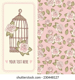 Set the template cards or invitations and seamless floral pattern. Birdcage and roses.