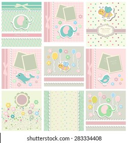Set of template for child, baby shower card.Vector illustration.