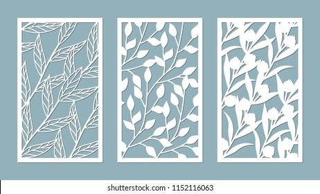 Set template for cutting. leaves pattern. Laser cut. For plotter. Vector illustration.