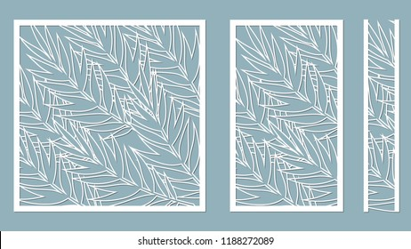Set template for cutting. Palm leaves pattern. Laser cut. Vector illustration. serigraphy. plotter and screen printing. serigraphy.