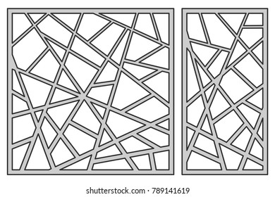 Set template for cutting. Square line diagonal pattern. Laser cut. Ratio 1:1, 1:2. Vector illustration.