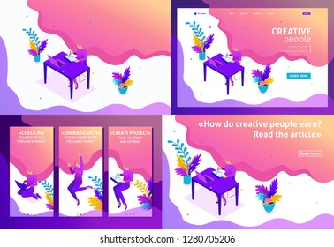 Set Template design article, Landing page, app design, Isometric concept girl designer Freelancer works remotely. Easy to edit and customize.