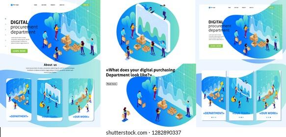 Set Template design article, Landing page, app design, Isometric concept concept of digital procurement, marketing research, teamwork. Adaptive 3D